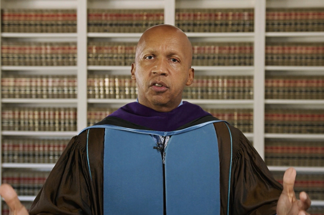 Bryan Stevenson speaking at the Tufts University Commencement ceremony on May 23, 2021.