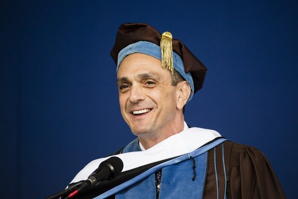 05/22/2016 - Medford/Somerville, Mass. - Hank Azaria, A87, actor, producer, director, comedian, and Tufts alumnus, is awarded an honorary Doctor of Public Humane Letters during the Phase I ceremony of Tufts University's 160th Commencement on Sunday, May 22, 2016. (Alonso Nichols/Tufts University)