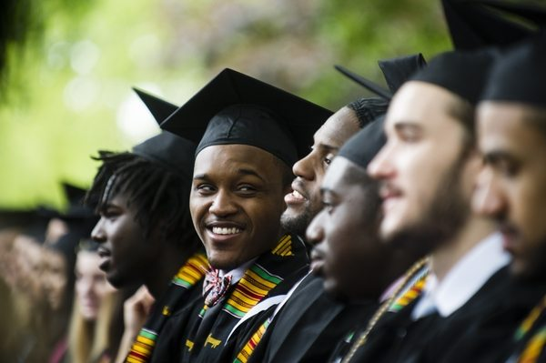 05/22/2016 - Medford/Somerville, Mass. - Graduating seniors of the Class of 2016 take in the Phase I ceremony of Tufts University's 160th Commencement on Sunday, May 22, 2016. (Alonso Nichols/Tufts University)