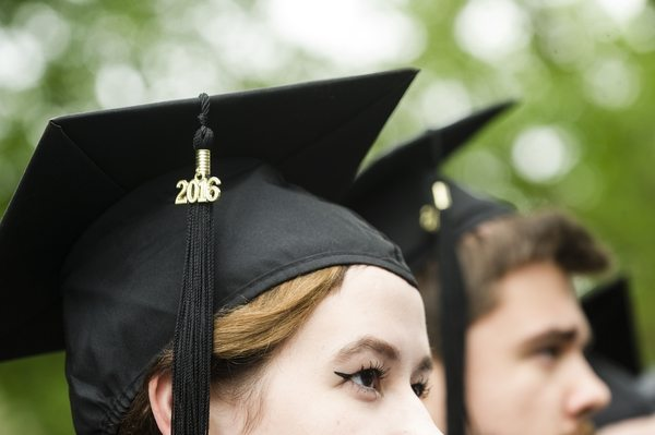 05/22/2016 - Medford/Somerville, Mass. - A tassel hangs from a graduating student's cap during the Phase I ceremony of Tufts University's 160th Commencement on Sunday, May 22, 2016. (Alonso Nichols/Tufts University)