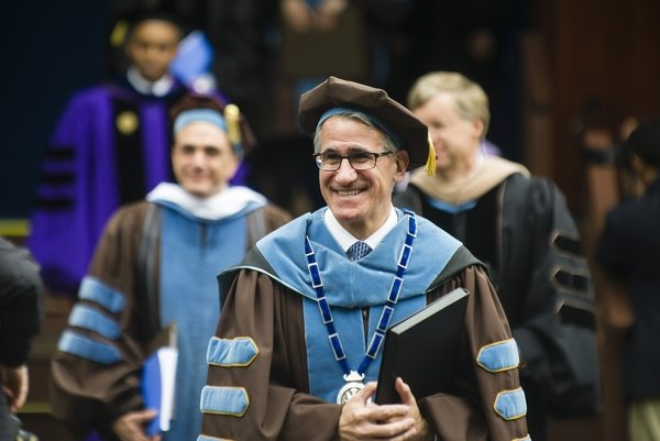 05/22/2016 - Medford/Somerville, Mass. - Tufts University Anthony P. Monaco exits the stage after the Phase I ceremony of Tufts University's 160th Commencement on Sunday, May 22, 2016. (Alonso Nichols/Tufts University)