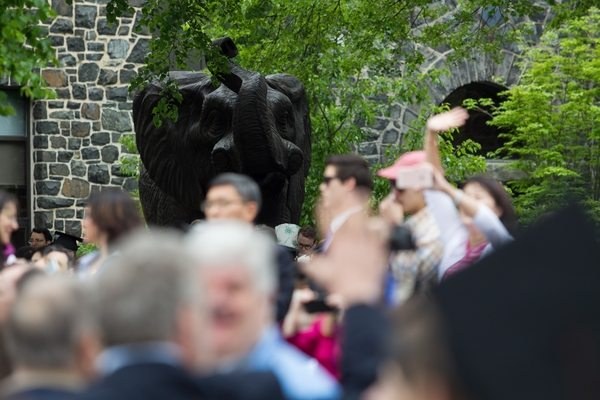 05/22/2016 - Medford/Somerville, Mass. - Jumbo the elephant looks out over the crowd gathered for the Phase I ceremony of Tufts University's 160th Commencement on Sunday, May 22, 2016. (Matt Healey for Tufts University)